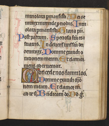 Historiated initial with a signed self-portrait of William de Brailes in 'The de Brailes Hours' f.47r